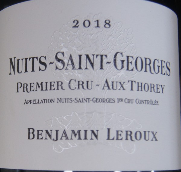 Nuits-St Georges Aux Thorey 1er Cru 2017 Benjamin Leroux