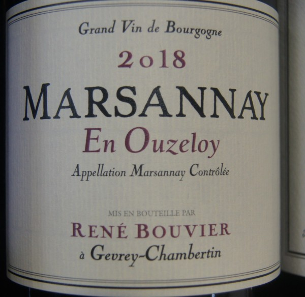 "Domaine Rene Bouvier : Marsannay Village ""En Ouzeloy"" 2018"
