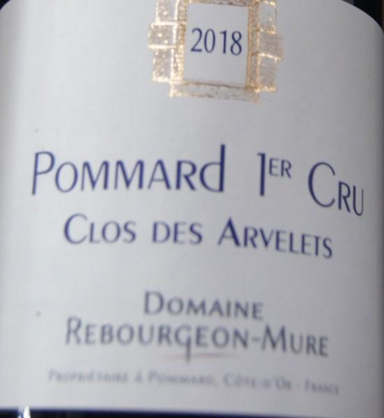 Rebourgeon-Mure Pommard 1er cru Clos des Arvelets 2018 Pinot Noir