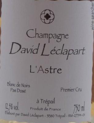 Champagne L'Astre 2015 Blanc de Noir, David Leclapart