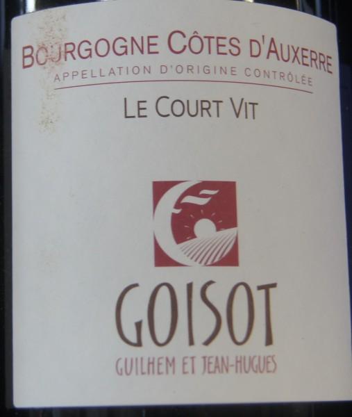 Bourgogne Côtes d'Auxerre Le Court Vit 2018 Domaine G. et J.-H. Goisot