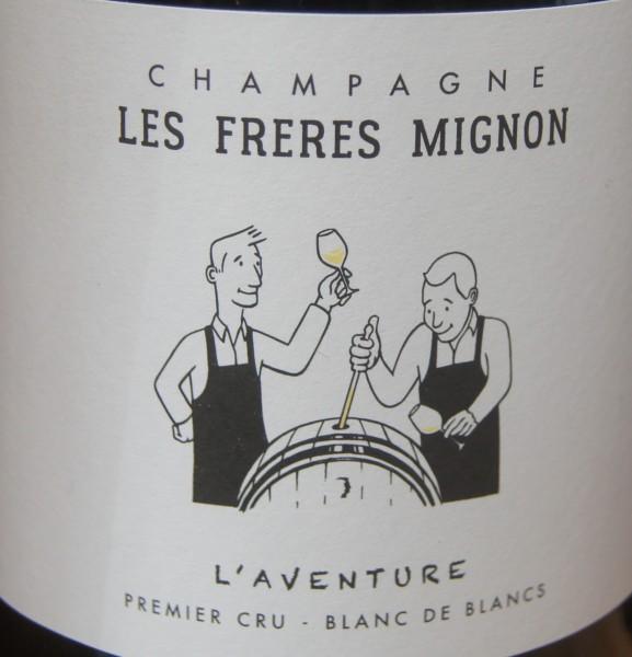 Champagne Extra Brut L'Aventure Blanc de Blancs Les Freres Mignon,