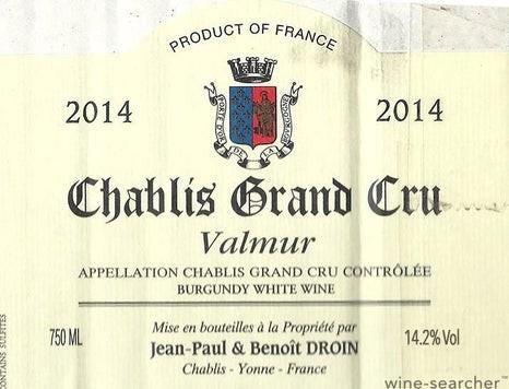 Chablis 2019 Grand Cru Valmur Droin