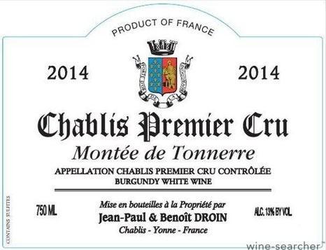 Chablis 1er Cru Montee de Tonnerre 2019 Jean-Paul & Benoit Droin
