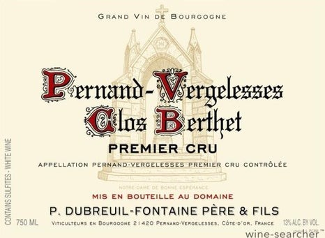Pernand Vergelesses 1er Cru Clos Berthet 2019 Blanc Dubreuil-Fontaine